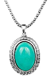 Miao Silver Turquoise Round Oval Stone Necklace