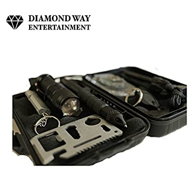 Emergency Survival Tools Kit Box 10 In 1 | With Tactical Knife, Flashlight, Credit Card, Compass, & More | For Camping, Wilderness, Preparedness, Hiking & More Diamond Way Entertainment by Diamond Way Entertainment