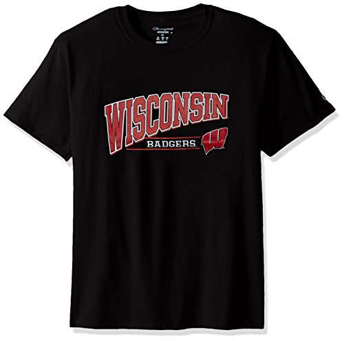 NCAA Wisconsin Badgers Men's Champ Short Sleeve T-Shirt 4, X-Large, Black