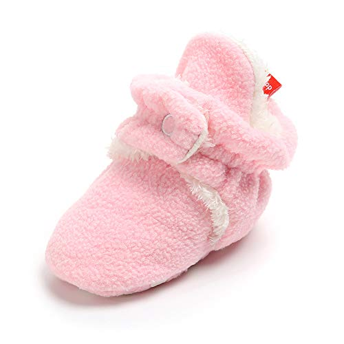 (SOFMUO Unisex Baby Cozy Fleece Booties with Non Skid Bottom Newborn Socks Infant Warm Winter Crib Shoes(Light Pink with Fur,0-6 Months))