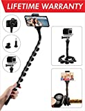 Kizen Flexible Selfie Stick. Monopod Suction Cup Tripod Mount Stand with Wireless Remote Shutter. for iPhone, Android Samsung. Attachment for Cellphone, Gopro, Camera