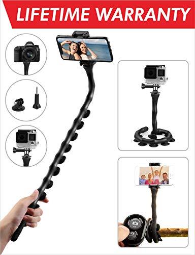 Kizen Flexible Selfie Stick. Monopod Suction Cup Tripod Mount...