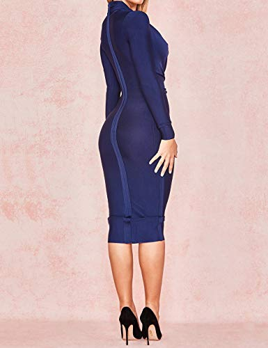 UONBOX Women s Deep Plunge V Neck Long Sleeves Draped Knee Length Bodycon  Bandage Dress at Amazon Women s Clothing store  1b0cf977b