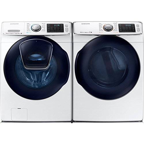 (Bundle: White Samsung 5 Cu Ft Front Load Washer with Add Wash and 7.5 Cu Ft ELECTRIC Dryer Laundry Set WF50K7500AW DV50K7500EW)