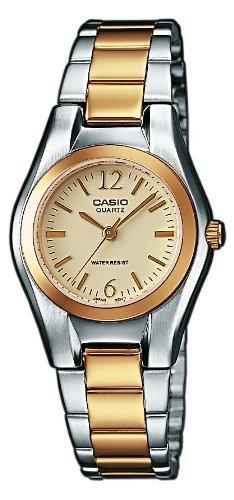 CASIO LTP-1280SG-9AEF - Reloj de cuarzo con correa de acero inoxidable para mujer, color plateado/dorado: Amazon.es: Relojes