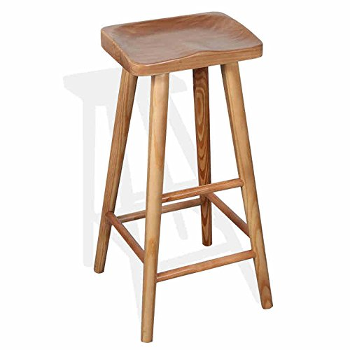Barstools LHA American All Solid Wood Simple Creative Bar Stool Home High Stool Bar Furniture (Size : 65cm)