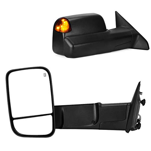 Maxiii Trailer Mirror, Compatible for Dodge RAM Tow Mirror 2009-2015 Dodge RAM 1500 Side Mirrors, 2010-2015 RAM 2500 3500 Truck Mirror, Power Heated Manual Mirror