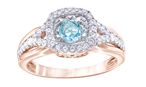 White Sapphire Frame Ring - Dancing Motion Diamond 4.5mm Simulated Swiss Blue Topaz & White Sapphire Frame Ring in Sterling Silver