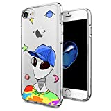 for iPhone 7 iPhone 8 Case with Funny Cute Alien Pattern Protective Flexible TPU Phone Cover for iPhone Case 4.7' Ultra Thin for Girls Men Women Friends Anti-Drop-Scratch Shockproof Bumper