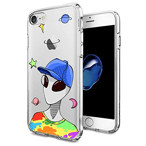 for iPhone 7 iPhone 8 Case with Funny Cute Alien Pattern Protective Flexible TPU Phone Cover for iPhone Case 4.7