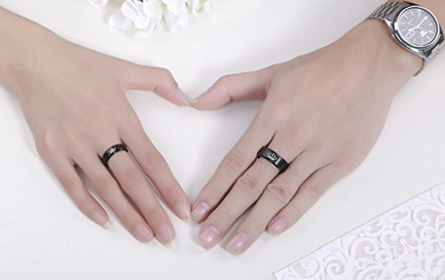 LAVUMO King and Queen Rings for Couples - 2pcs His Hers Stainless Steel Matching Ring Sets for Him and Her - Promise Engagement Wedding Band Black Comfort Fit (Men 11 & Women 7) by LAVUMO (Image #2)