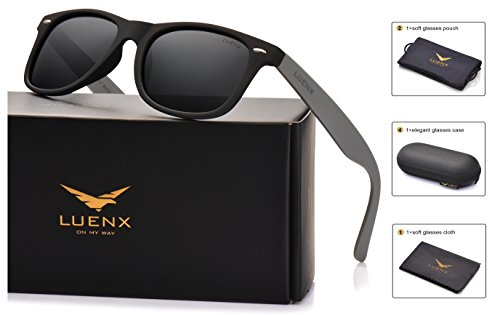 LUENX Mens Wayfarer Polarized Sunglasses Womens UV 400 Protection Classic Black Lens Matte Mix Black & Grey Frame 54MM with Case