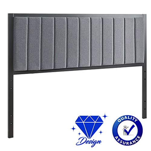 BestMassage Queen Headboard Tufted Headboard Fabric Upholstered Linen Heavy Duty with Full/Queen Size Adjustable in Gray