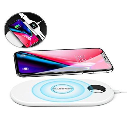 Wireless Charger, ABLEGRID Dual Fast Charging Pad Qi Certificated Wireless Charging Stand for iPhone X, iPhone8/8 Plus, Samsung Galaxy S9, S9+, Note 8, S8, S8+ and More Qi Enabled Devices
