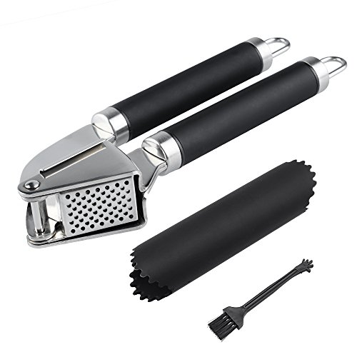 Mayetori Garlic Press and Peeler, Stainless Steel Garlic Mincer Crusher with Silicone Tube Roller