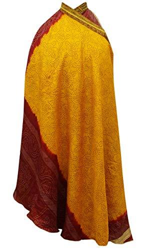 Indianbeautifulart Les Femmes Check Imprimer Pure Soie Vintage Saree rversible Rouge Wrap Summer Beach Dress Ocre Jaune