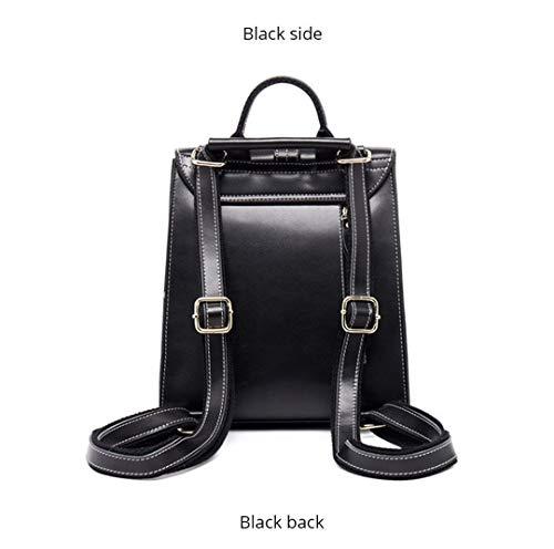haute en Sac de cuir de vache femmes capacité Black bandoulière Sac filles style dos coréen XCq5wZx