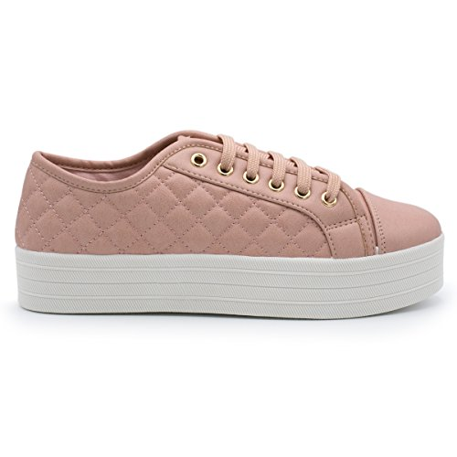 Breckelles - Womens Soft Quilted Fashion Sneaker Blush 1GiAzItW