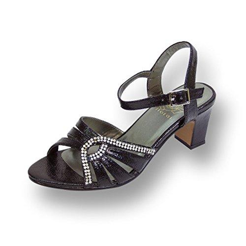 Floral FIC Carla Women Wide Width Heeled Dress Sandal for Wedding, Prom, Dinner (Size/Measurement Guide) Black