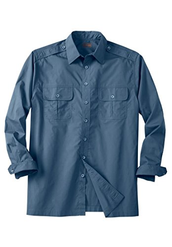 Blue Boulder (Boulder Creek Men's Big & Tall Long Sleeve Pilot Shirt, Slate Blue Tall-2Xl)