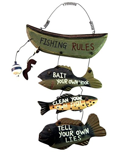 Wood Fishing Rules Sign Approximately product image