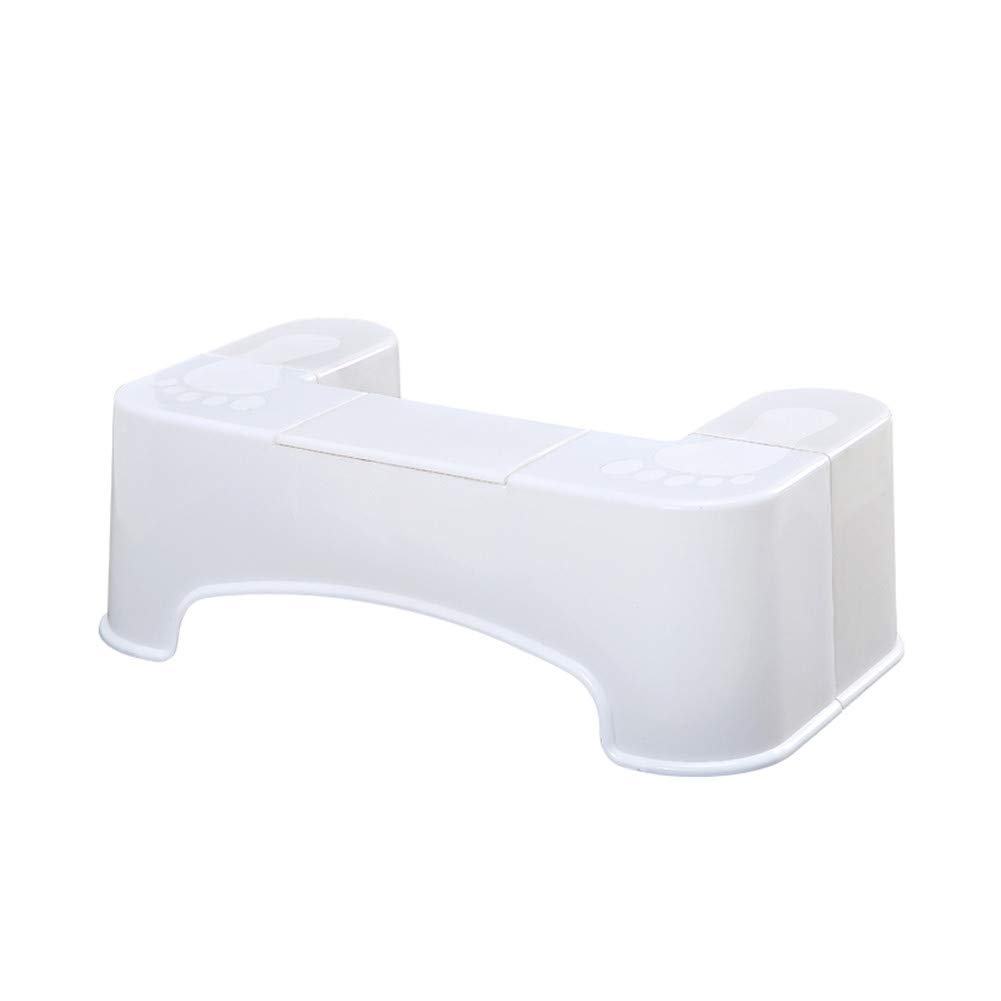 Durable Toilet Stool, Plastic Anti-Slip Pad Feet Stool Toilet aid for Easier Evacuation of The Bowels,White by HB Toilet Stool