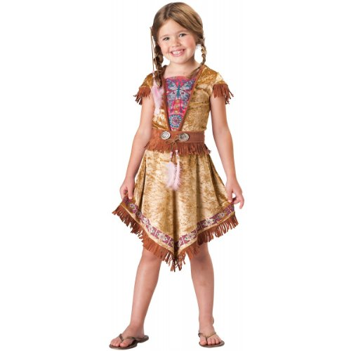 In Character Costumes, LLC Girls 2-6X Indian Maiden Dress Set, Tan, X-Small(Size: -