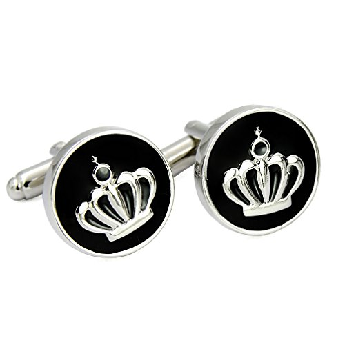 (ENVIDIA Black Enamel Royalty Crown Cufflinks Silver Plated Fashion Wedding Party Gifts With)