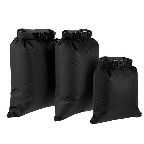Lixada Waterproof Dry Bags, 3 Pack Ultimate Dry Sack - 3L+5L+8L Lightweight, Roll Top Outdoor Dry Sacks for Kayaking Camping Hiking Traveling Boating Water Sports (Black)