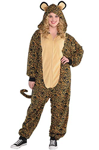 (AMSCAN Zipster Leopard One Piece Costume for Women, Plus Size, with Included)