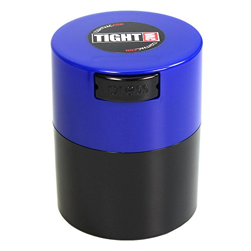 Tightvac - 1/2 oz to 3 ounce Airtight Multi-Use Vacuum Seal Portable Storage Container for Dry Goods, Food, and Herbs - Dark Blue Cap & Black