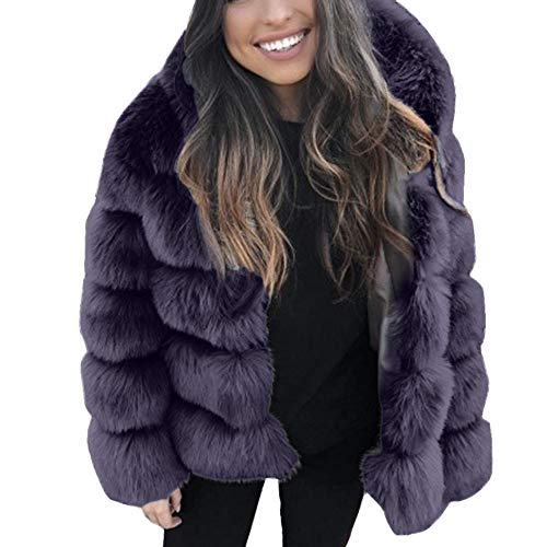 Aritone 2019 New Womens Warm Faux Fur Hooded Thicken Jacket Outerwear - Winter Faux Mink Dress Coat Overcoat (Navy, X-Large)