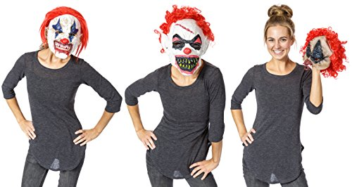 Mask For Halloween - Realistic Evil Clown Face Mask - 3 Pack - Natural (Not So Scary Halloween Movies Adults)