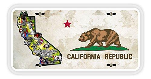BleuReign(TM Detailed California Flag Map Car Vehicle License Plate Auto Tag