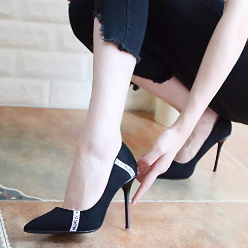 Thin Shoes Shoes And Jog Tip Shoes Women'S Heel KPHY Temperament Black Autumn Mouth High 10Cm Shallow Thirty Seven Suede Color The WypTP7AqwP