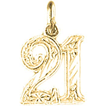 25 Pendant Jewels Obsession Number Twenty Five 14K White Gold Number Twenty Five 17 mm