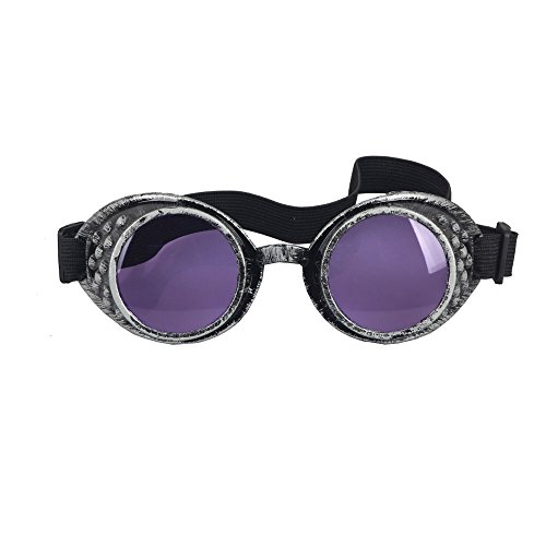 OMG_Shop Old Silver Frame Steampunk Goggles Glasses Vintage Victorian welding Cosplay Goth Punk Costume (Purple Lens)]()