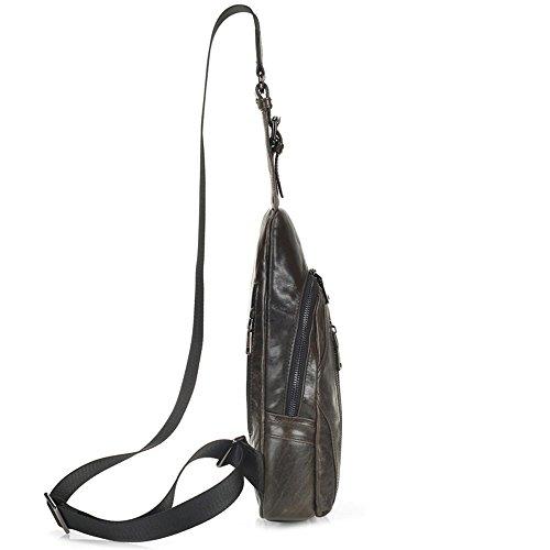 Gendi hombres de cuero genuino Sling mochila desequilibrio mochila Crossbody bolsos de hombro bolsa deportiva Sling pecho paquete de senderismo paquete para acampar gimnasia bicicleta Biking School Ba marrón