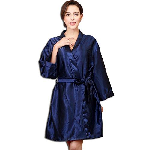 scollo Kimono KAXIDY V Blu Vestaglie raso notte a Accappatoio Kimono in da Donna Kimono vWEErqZTS