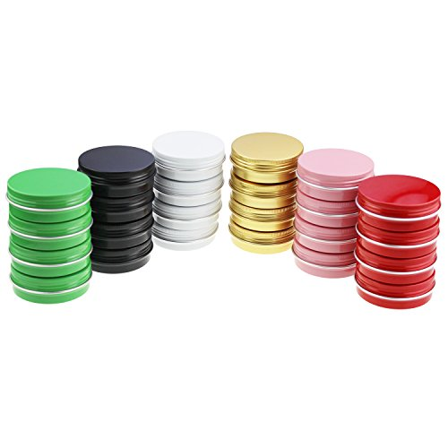 - LJY 24 Pieces Multi-Colored Round Aluminum Cans Screw Lid Metal Tins Jars Empty Slip Slide Containers (2 oz)