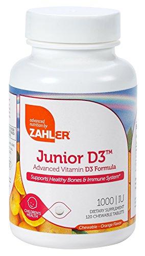 (Zahler Junior D3 Chewable 1000IU, Kids Vitamin D, Great Tasting Chewable Vitamin D for Kids, Optimal Vitamin D3 1000 IU for Children,Certified Kosher, 240 Chewable Tablets )