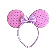 Rush Dance Mickey Minnie Mouse Birthday Party Favor Bow Accessories Headband (Pink with Hot Pink Polka Dots)