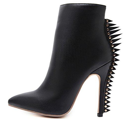 Women's High Heels Thin Casual Pointed Toe Martin Shoes Snow Boot-(black-36/5 B(M) US Women) Patent Peek A-boo Dress