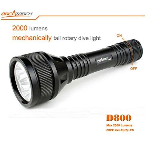 Bazaar ORCATORCH D800 3xCREE XM-L2 (U2) Schwanz Rotary Tauchen LED Taschenlampe