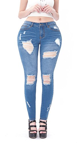 - VICVIK Womens Ripped Skinny Stretch Jeans Butt Lift Super Comfy Denim Pants Pencil Jeggings (Light Blue, 11)