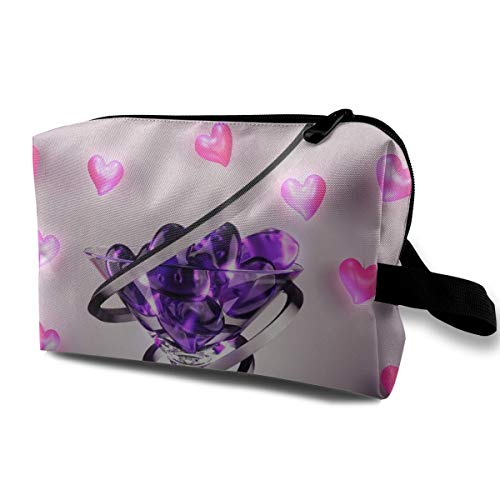 Storage Bag Travel Pouch Wine Glass Love Heart Purse Organizer Power Bank Data Wire Cosmetic Stationery Holder