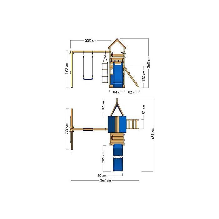 41Frs7WfVbL WICKEY Torre de escalade para niños con tobogán, columpio, escalera de cuerda y caja de arena Poste 9x4,5cm - Poste de columpio 9x9cm - Madera maciza impregnada a presión Calidad y seguridad aprobada - Instrucciones de montaje sencillas y detalladas - Made in Germany