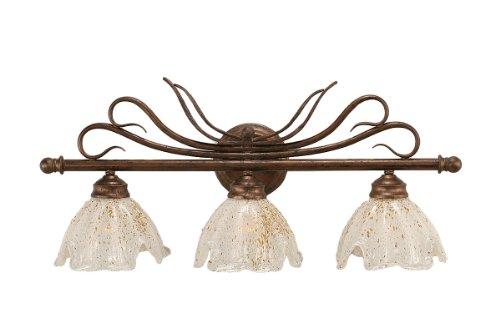 Toltec Lighting 103-BRZ-755 Swan Three-Light Light Bath Bar Bronze Finish with Gold Ice Glass Shade, 7-Inch