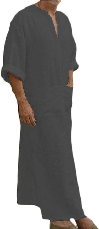 Hokny TD Mens Half Sleeve Solid Middle East Cotton Linen Long Shirt Robe