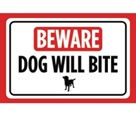 Amazon.com: Beware perro Will Bite Print Rojo Símbolo Negro ...